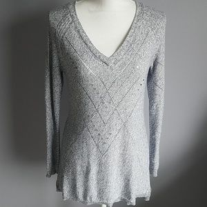 WHBM Marled Metallic Tunic Sweater